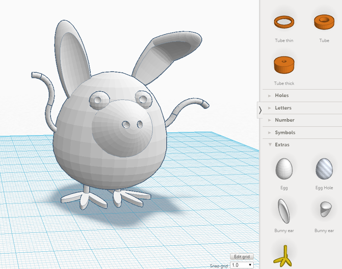 slärmavbild från tinkercad med en 3d modell som ser ut som ett ägg med grisnäsa och kaninöron